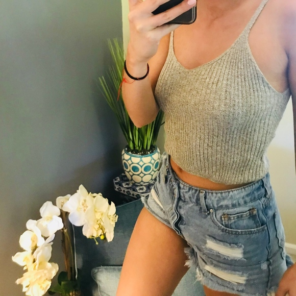 Urban Outfitters Tops - grey tank crop top